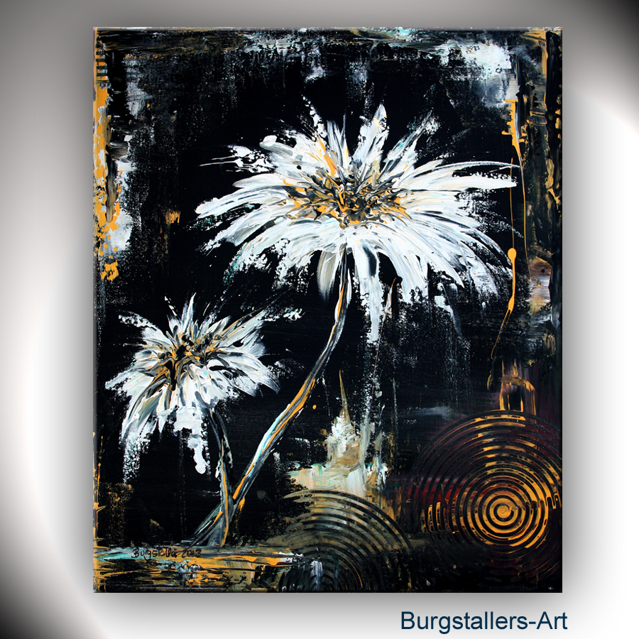 burgstaller abstrakt acrylbild original blumen bild modern. Black Bedroom Furniture Sets. Home Design Ideas