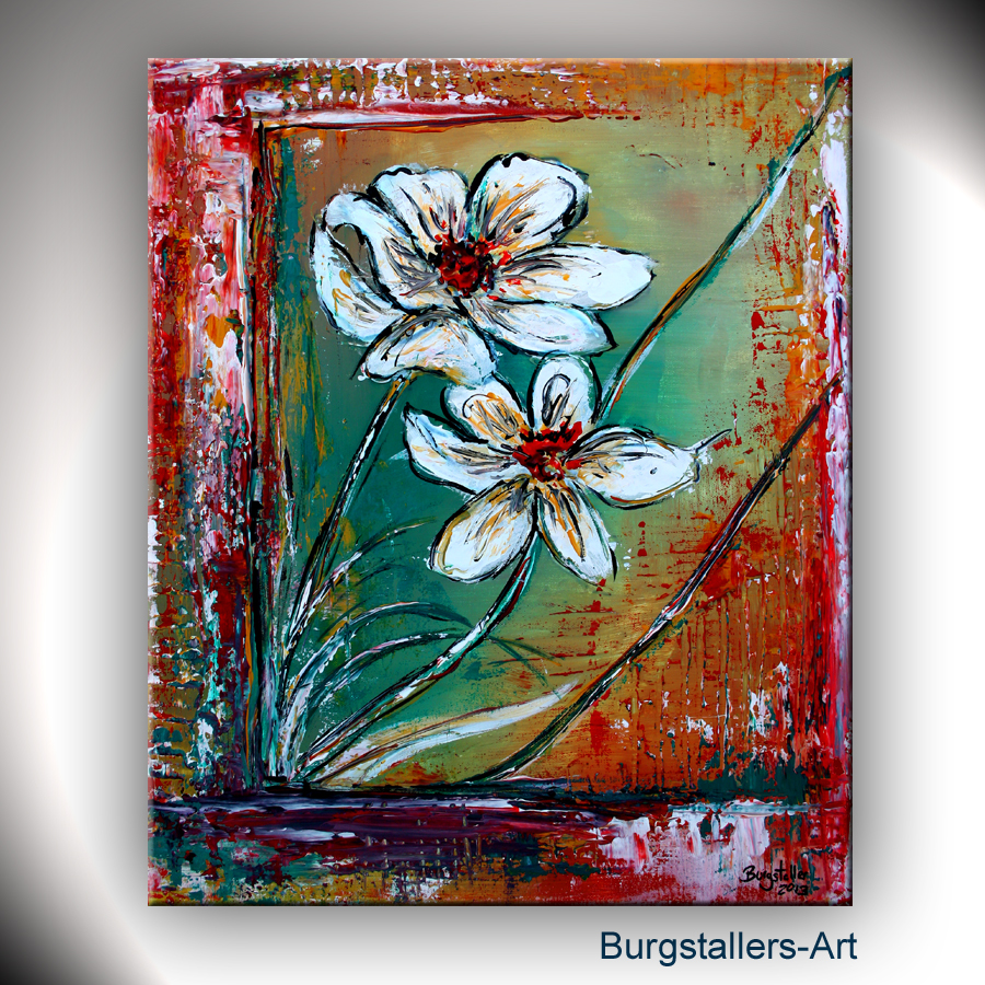burgstaller abstrakt acrylbild original blumen bild modern malerei early morning ebay. Black Bedroom Furniture Sets. Home Design Ideas