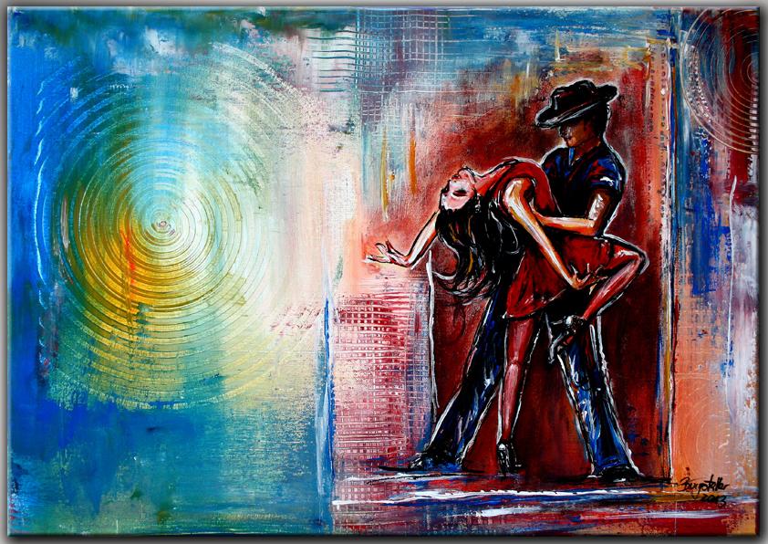 burgstaller abstrakte gem lde original bild kunst malerei tango tanzen merengue ebay. Black Bedroom Furniture Sets. Home Design Ideas