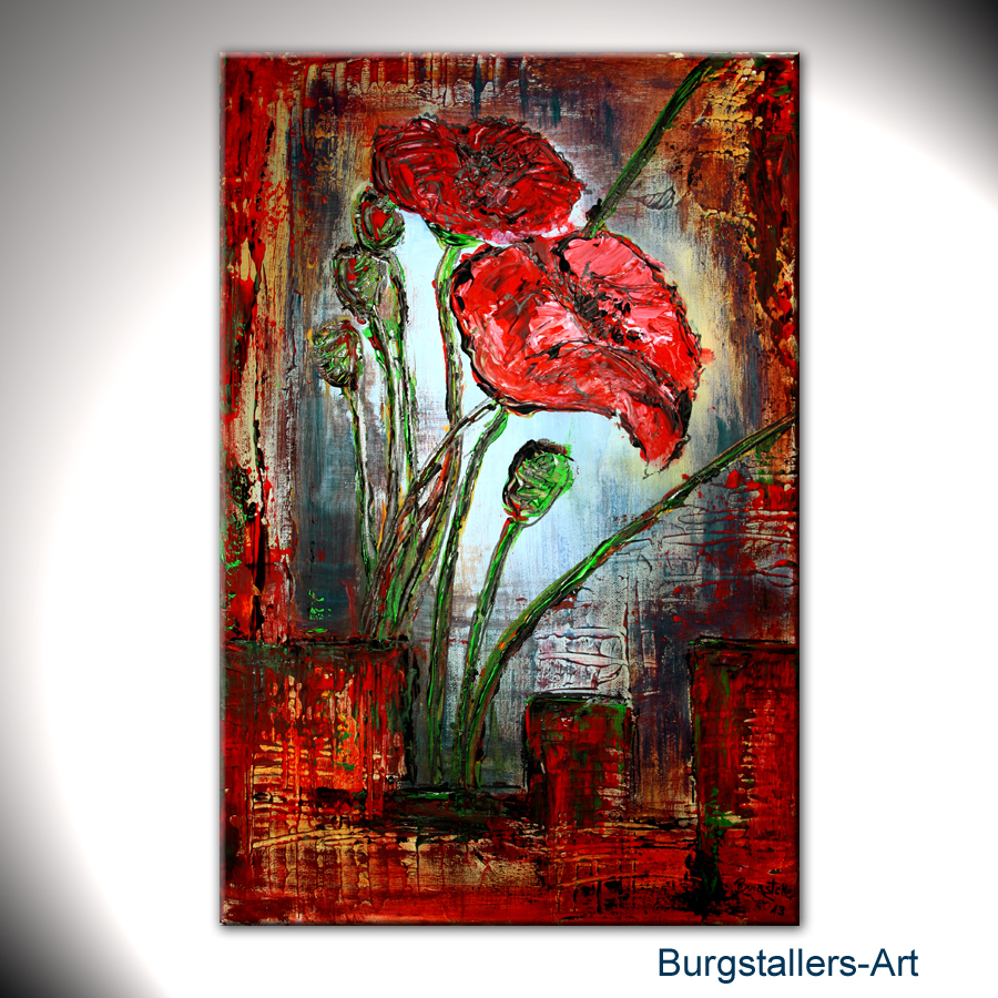burgstaller abstrakt acrylbild original blumen bilder modern malerei mohn parade ebay. Black Bedroom Furniture Sets. Home Design Ideas