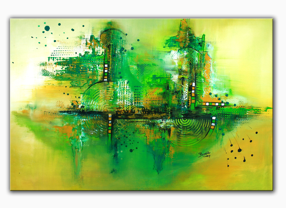 original acryl gem lde bilder painting kunst leinwand abstrakt burgstaller green ebay. Black Bedroom Furniture Sets. Home Design Ideas