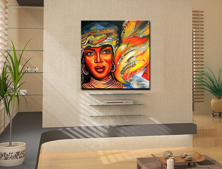 ba original acryl bild unikat handgemalt afrika gesicht ebay. Black Bedroom Furniture Sets. Home Design Ideas